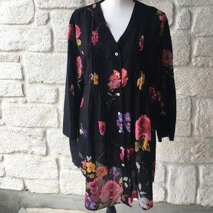 Soft Surroundings Black Floral Dress / Size XL
